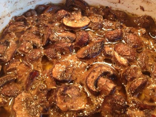 Olas & Chanclas   Roasted Marinated Mushrooms with Tortellini Pasta