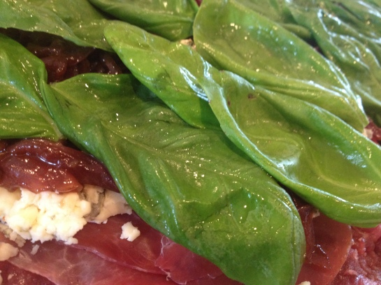 Olas & Chanclas | Marinated Flank Steak Stuffed with Balsamic Caramelized Onions, Blue Cheese, Prosciutto and Basil